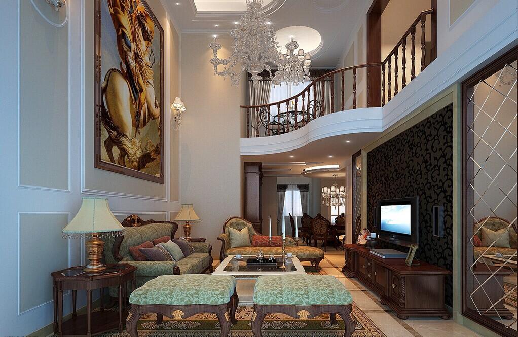 富丽堂皇的欧式别墅客厅装修效果图